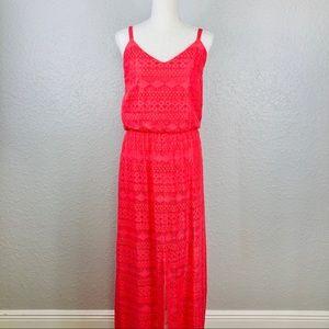 CALVIN KLEIN | Pink Crochet Long Maxi Dress